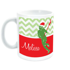 Girls Lacrosse Ceramic Mug Personalized Lax Girl with Santa Hat