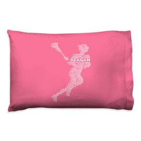 Girls Lacrosse Pillowcase - Personalized Words Girl