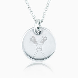 Sterling Lacrosse Crossed Sticks & Initials Engraved 20mm Pendant Necklace