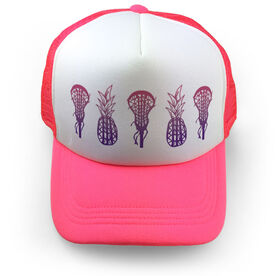 Girls Lacrosse Trucker Hat Lax Pineapples Gradient