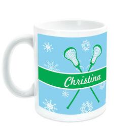 Girls Lacrosse Ceramic Mug Personalized Winter Wonderland