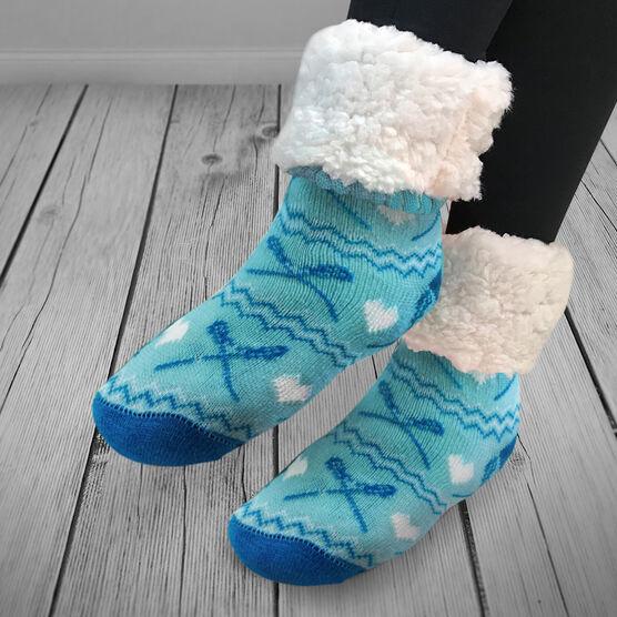 Lacrosse Slipper Socks with Sherpa Lining (Blue)