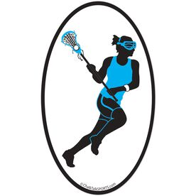 Lacrosse Girl Oval Car Magnet (Blue/Black)