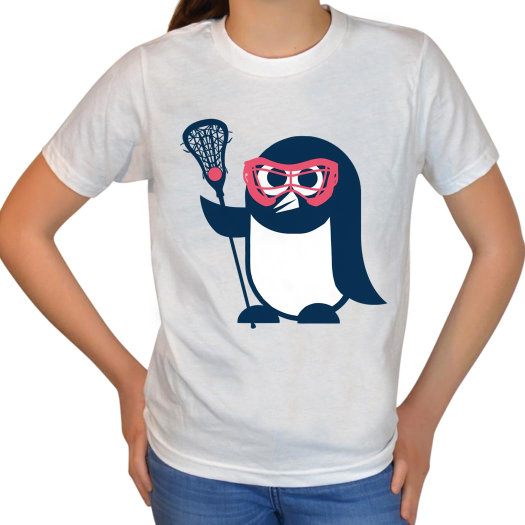 Girls Lacrosse T-Shirt Short Sleeve Penguin