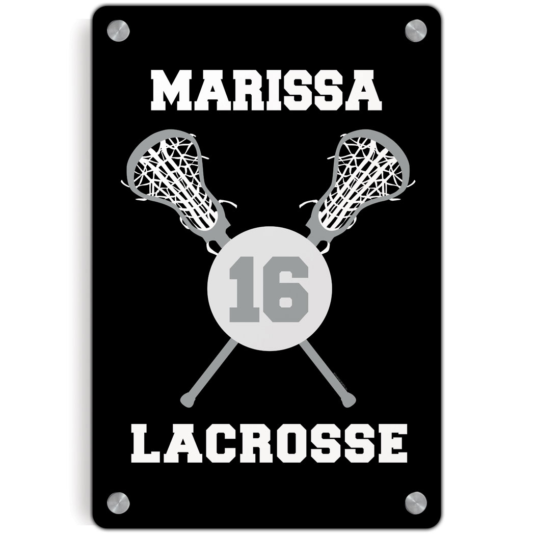 Personalized Metal Wall Art girls lacrosse metal wall art panel - personalized lacrosse ball