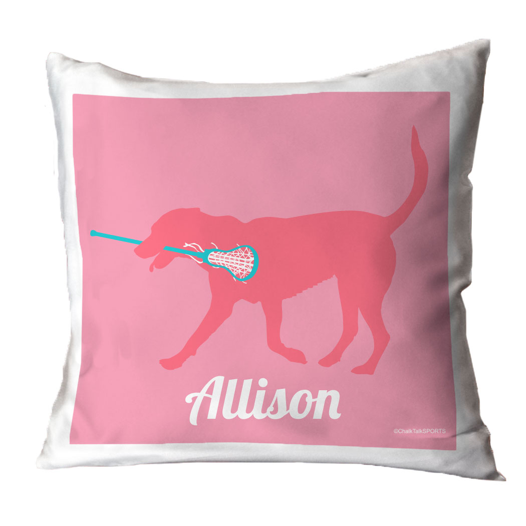 Girls Lacrosse Throw Pillow Lacrosse Dog Girl LuLaLax