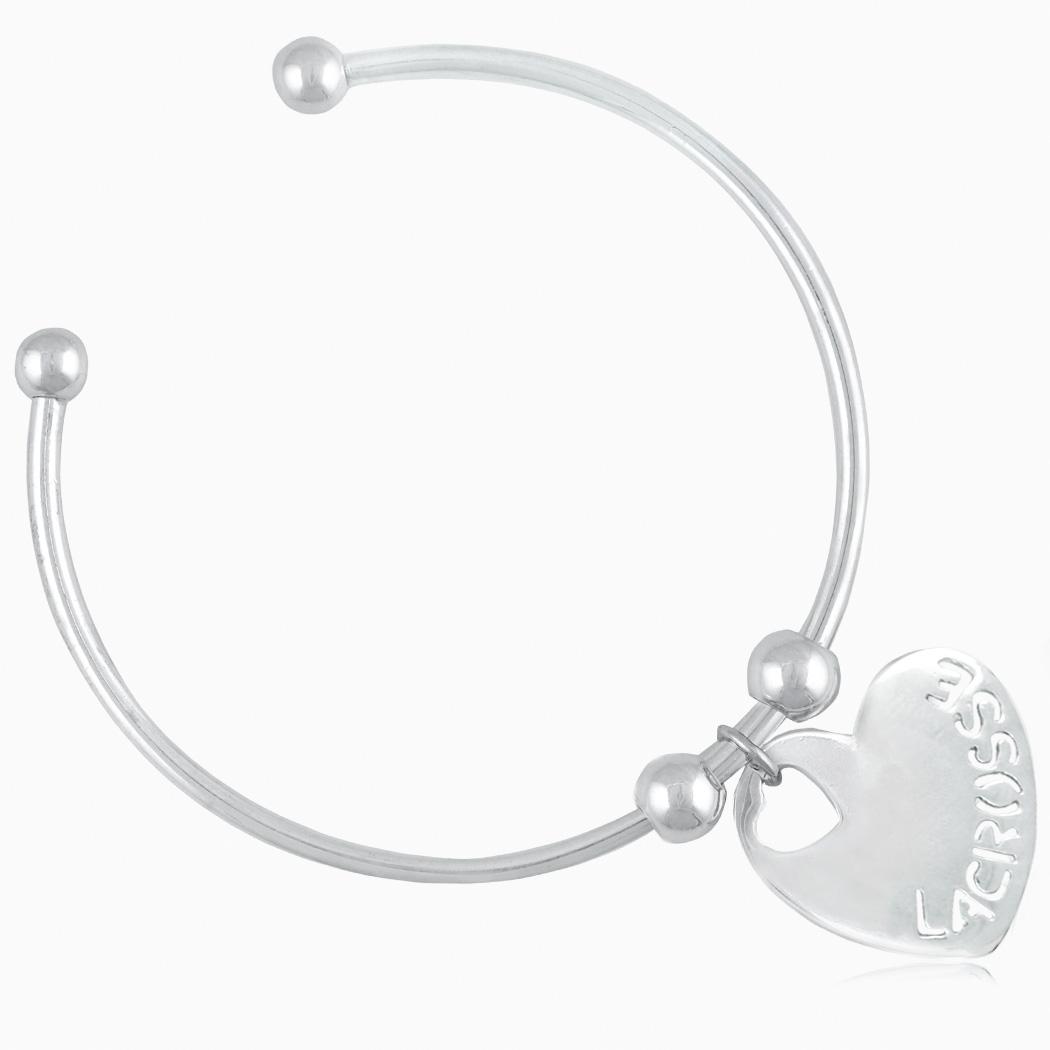 Silver Lacrosse Heart Cuff Bracelet