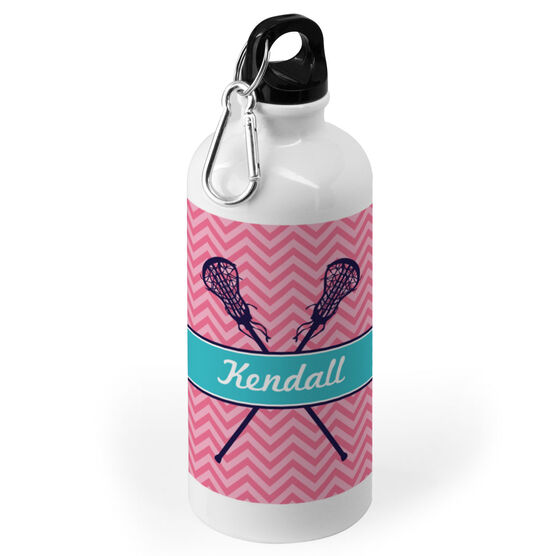 Girls Lacrosse 20 oz. Stainless Steel Water Bottle - Personalized Girl Lacrosse Sticks Chevron