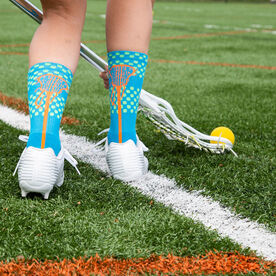 Girls Lacrosse Woven Mid-Calf Socks - Tropic (Blue/Green/Orange)