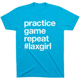 Girls Lacrosse Short Sleeve T-Shirt - Practice Game Repeat