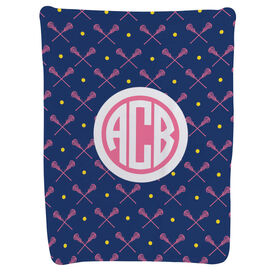 Girls Lacrosse Baby Blanket - Girls Lacrosse Pattern