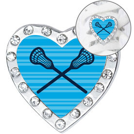 Girls Lacrosse Heart Shoe Charm - Crossed Sticks