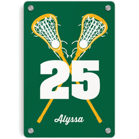 Girls Lacrosse Metal Wall Art Panel - Personalized Crossed Girl Sticks