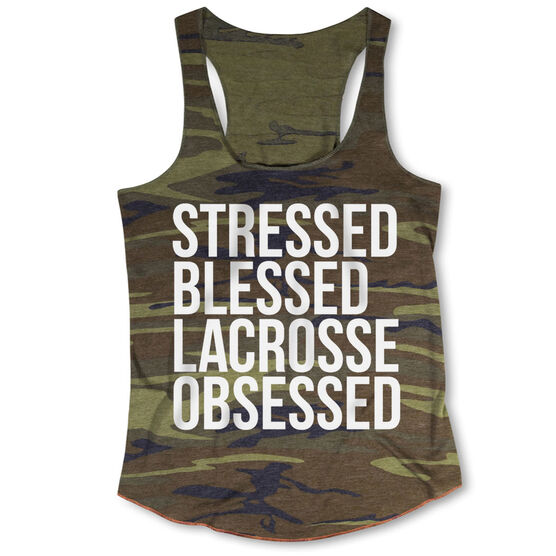 Lacrosse Camouflage Racerback Tank Top - Stressed Blessed Lacrosse Obsessed