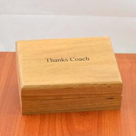 Engravable 14K Gold Coach Whistle In An Oak Case