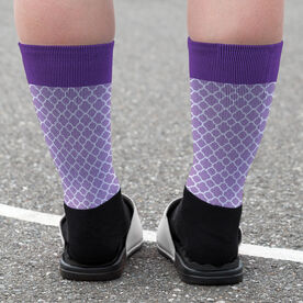 Girls Lacrosse Printed Mid-Calf Socks - Personalized Lacrosse Dog Quatrefoil Pattern