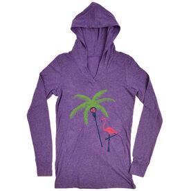 Girls Lacrosse Lightweight Performance Hoodie Palm Tree and Flamingo