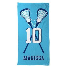 Lacrosse Beach Towel Personalized Player with Crossed Sticks