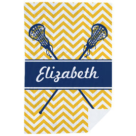 Girls Lacrosse Premium Blanket - Personalized Girl Lacrosse Sticks Chevron