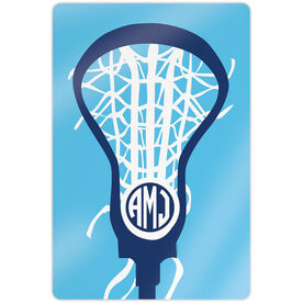"""Girls Lacrosse 18"""" X 12"""" Aluminum Room Sign - Monogrammed Lax is Life"""