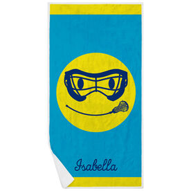 Girls Lacrosse Premium Beach Towel - Smiley Face