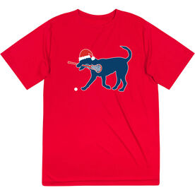 Girls Lacrosse Short Sleeve Performance Tee - Christmas Dog