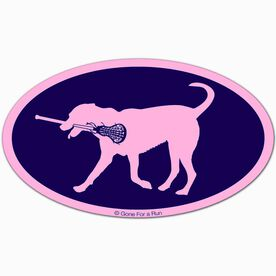 Girls Lacrosse Oval Car Magnet LuLa the Lax Dog (Pink/Blue)