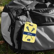 Girls Lacrosse Bag/Luggage Tag - Personalized Girl Lacrosse Sticks Chevron