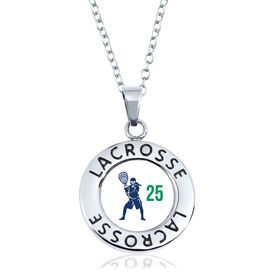 Girls Lacrosse Circle Necklace - Goalie Silhouette With Number