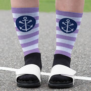 Girls Lacrosse Printed Mid-Calf Socks - Lax Anchor with Stripes
