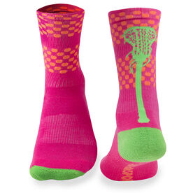 Girls Lacrosse Woven Mid-Calf Socks - Aloha (Pink/Orange/Green)