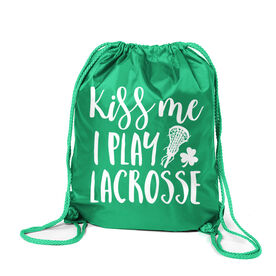 Girls Lacrosse Sport Pack Cinch Sack - Kiss Me I Play Lacrosse