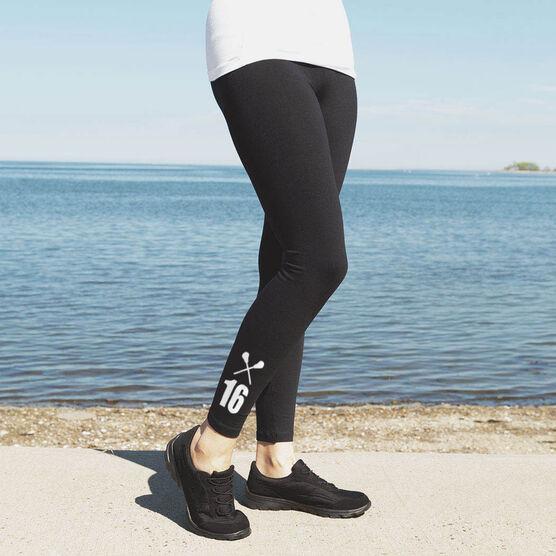 Girls Lacrosse Leggings - Crossed Sticks With Number
