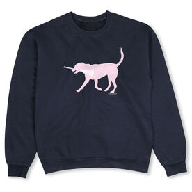 Girls Lacrosse Crew Neck Sweatshirt - LuLa the LAX Dog (Pink)
