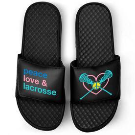 Girls Lacrosse Black Slide Sandals - Peace Love And Lacrosse