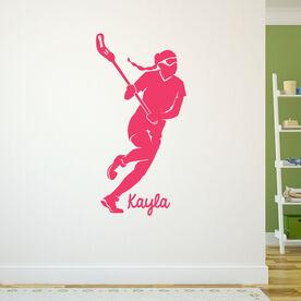 Lacrosse Removable ChalkTalkGraphix Wall Decal Personalized Lacrosse Girl Silhouette