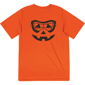 Girls Lacrosse Short Sleeve Performance Tee - Lacrosse Goggle Pumpkin Face