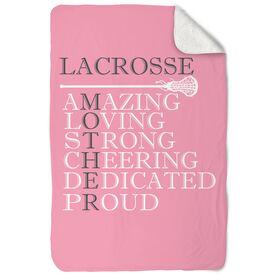 Girls Lacrosse Sherpa Fleece Blanket - Mother Words