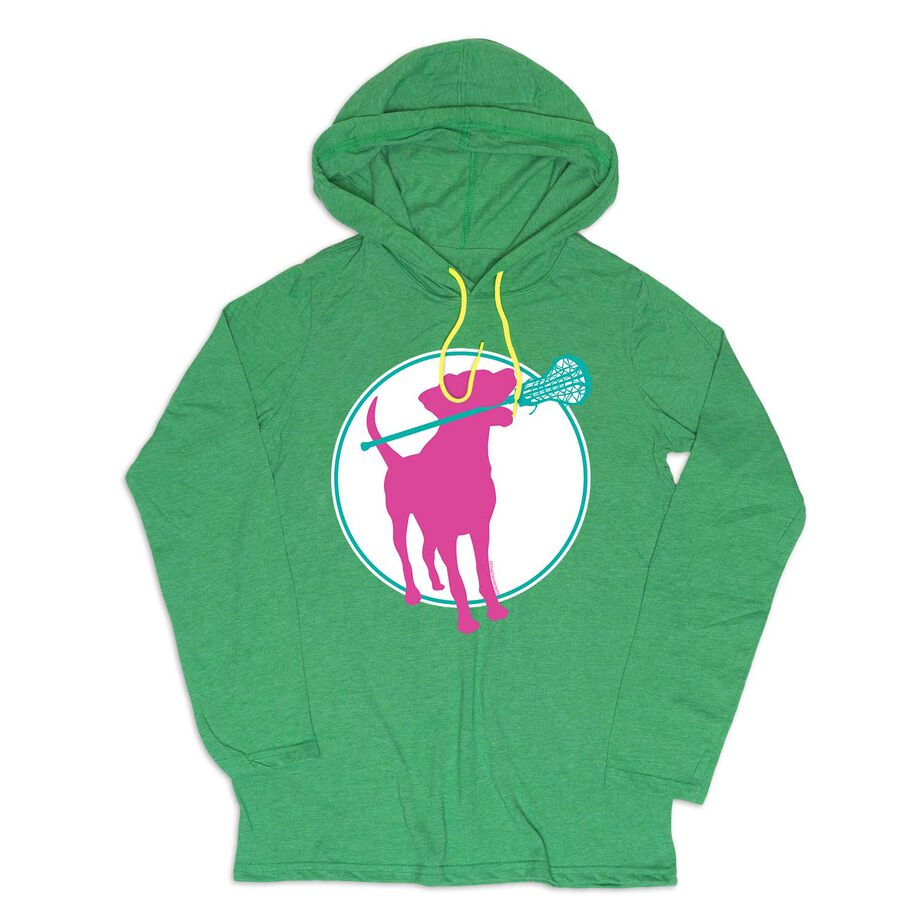 Girls Lacrosse Lightweight Hoodie - Lacrosse Dog with Girl Stick