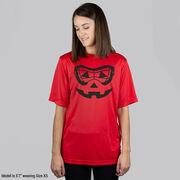 Girls Lacrosse Short Sleeve Performance Tee - Lacrosse Goggle Pumpkin Face