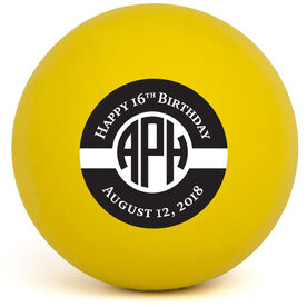 Personalized Happy Birthday Monogram Lacrosse Ball (Yellow Ball)