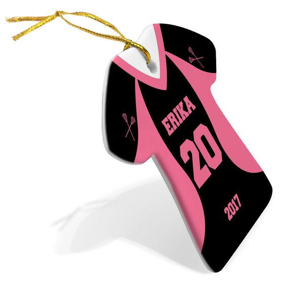 Girls Lacrosse Porcelain Ornament Personalized Jersey