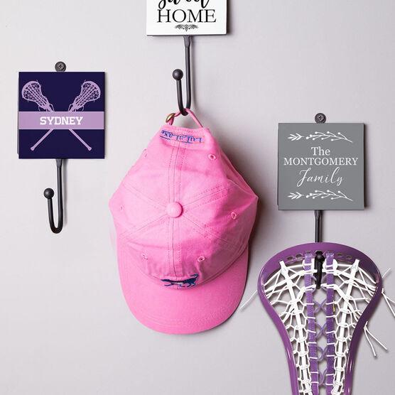 Girls Lacrosse Medal Hook - Lacrosse Crossed Sticks With Name