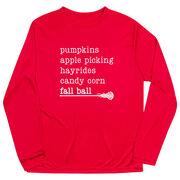 Girls Lacrosse Long Sleeve Performance Tee - Favorite Fall Things