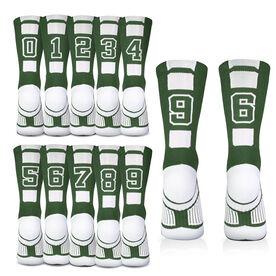 Team Number Woven Mid-Calf Socks - Green