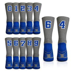 Team Number Woven Mid-Calf Socks - Gray/Blue