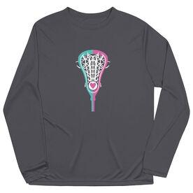 Girls Lacrosse Long Sleeve Performance Tee - Lacrosse Stick Heart