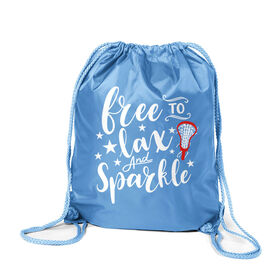 Girls Lacrosse Sport Pack Cinch Sack - Free To Lax And Sparkle