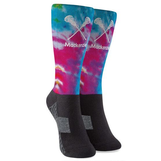 Girls Lacrosse Printed Mid-Calf Socks - Personalized Tie Dye Pattern with Lacrosse Sticks