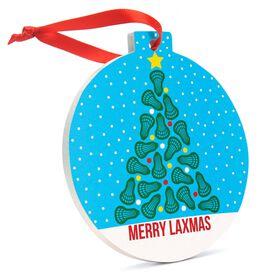 Lacrosse Round Ceramic Ornament - Merry Laxmas